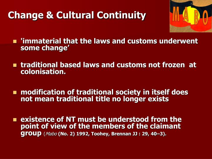 Change & Cultural Continuity