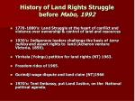 history of land rights struggle before mabo 1992