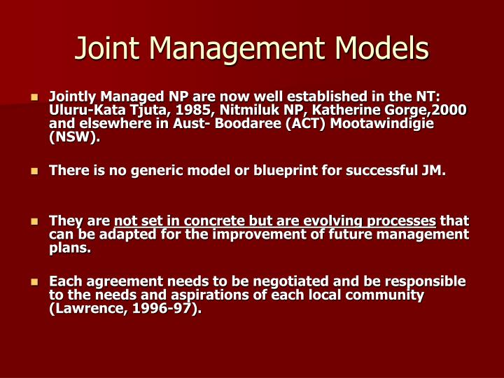 Joint Management Models