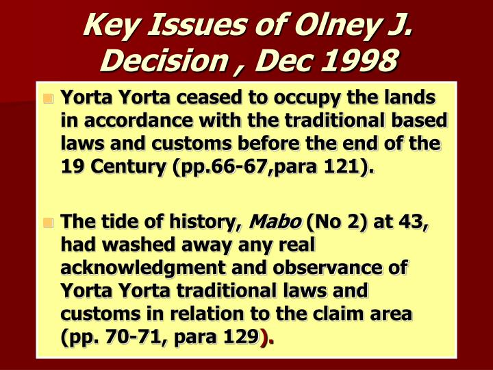 Key Issues of Olney J. Decision , Dec 1998