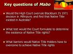 key questions of mabo