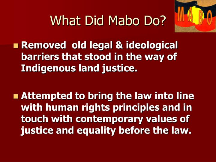 What Did Mabo Do?