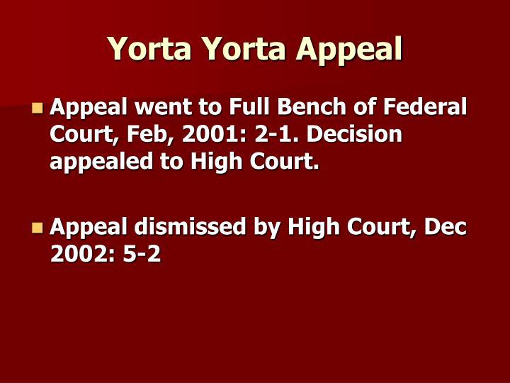 Yorta Yorta Appeal