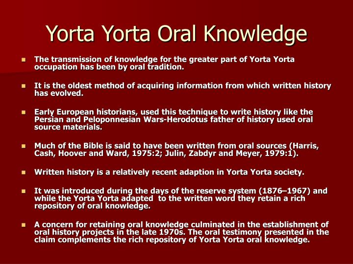 Yorta Yorta Oral Knowledge
