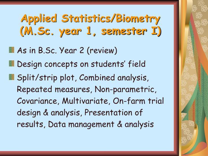 Applied Statistics/Biometry