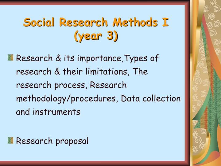 Social Research Methods I