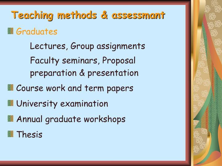 Teaching methods & assessmant