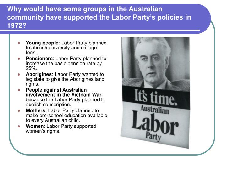 Why would have some groups in the Australian community have supported the Labor Party's policies in 1972?