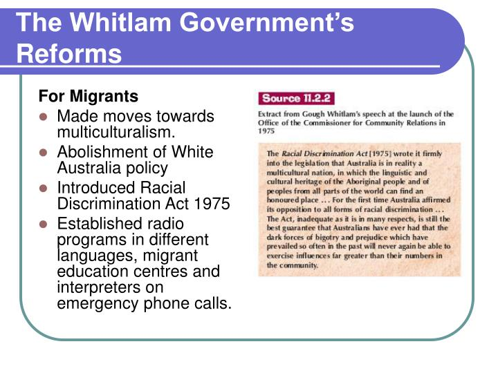 The Whitlam Government's Reforms