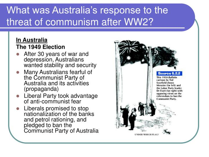 What was Australia's response to the threat of communism after WW2?