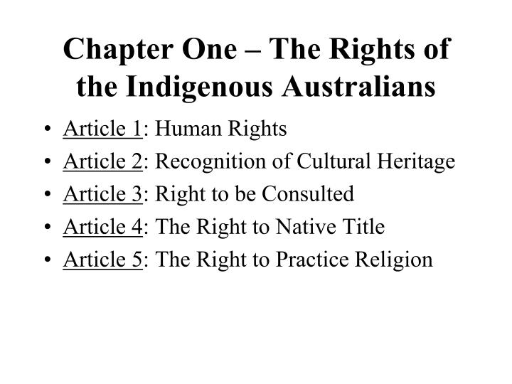 Chapter One – The Rights of the Indigenous Australians