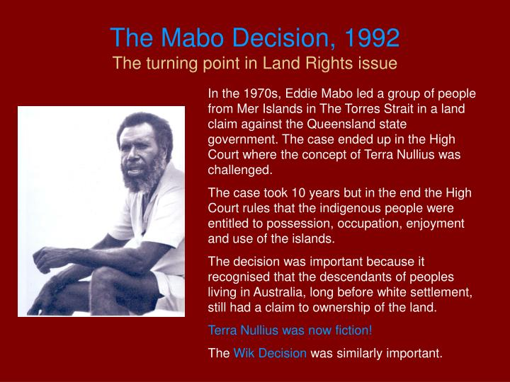 The Mabo Decision, 1992