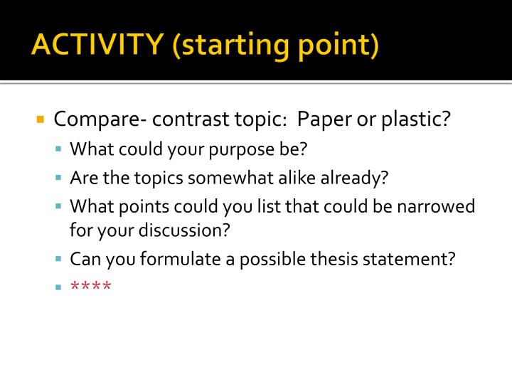 ACTIVITY (starting point)