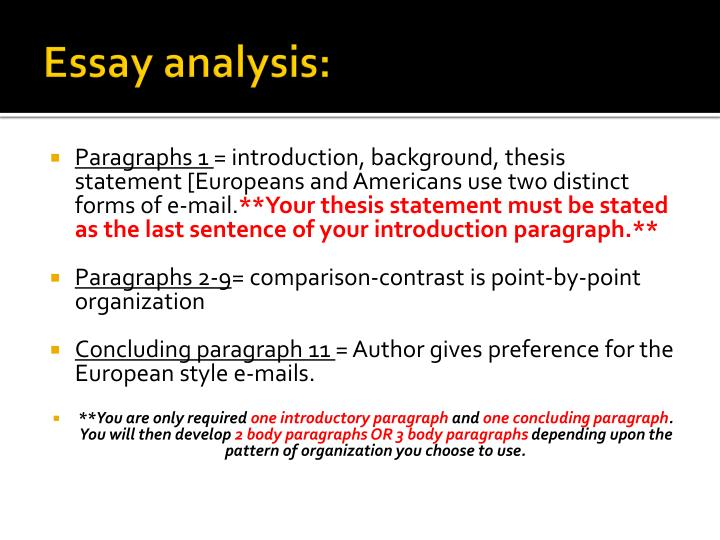 Essay analysis: