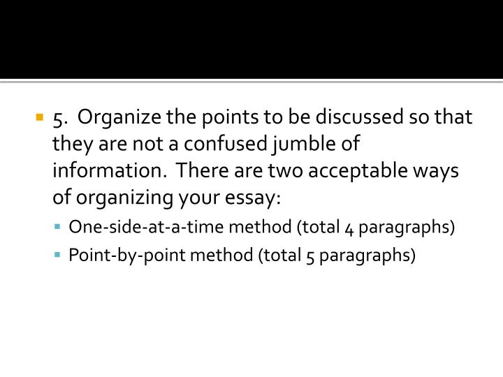5.  Organize the points to be discussed so that they are not a confused jumble of information.  There are two acceptable ways of organizing your essay:
