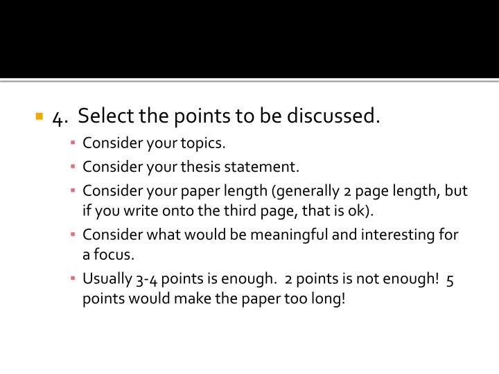 4.  Select the points to be discussed.