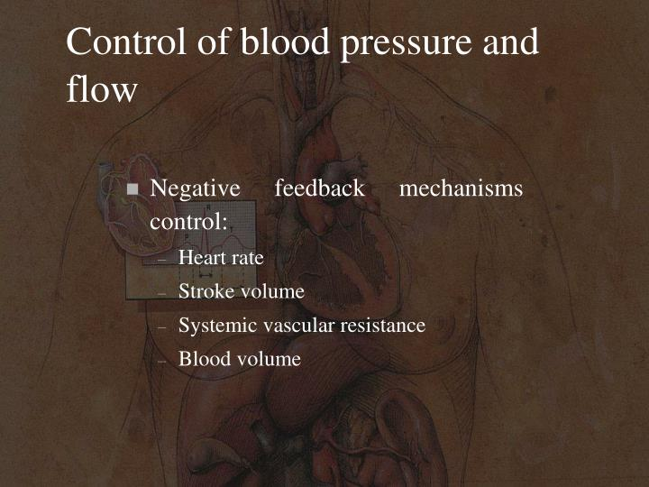 Control of blood pressure and flow