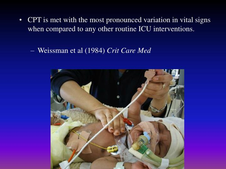 CPT is met with the most pronounced variation in vital signs when compared to any other routine ICU interventions.
