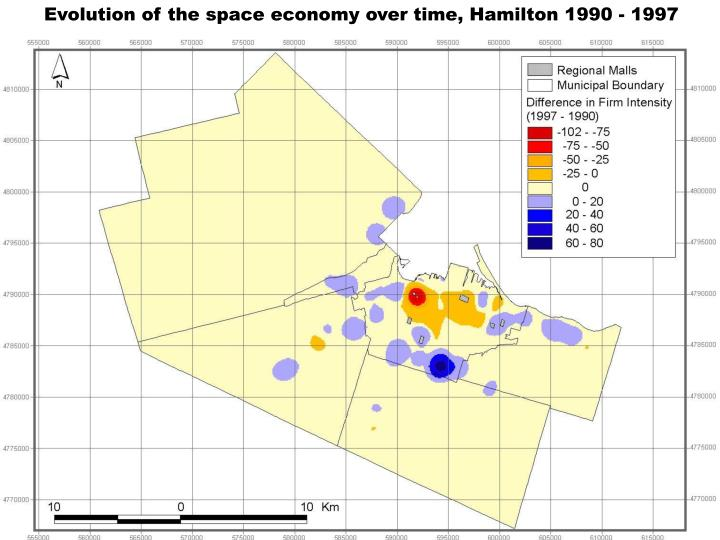 Evolution of the space economy over time, Hamilton 1990 - 1997