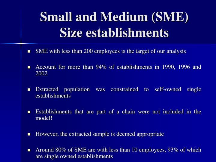 Small and Medium (SME) Size establishments
