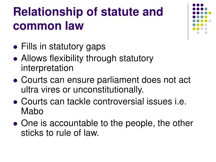 Relationship of statute and common law