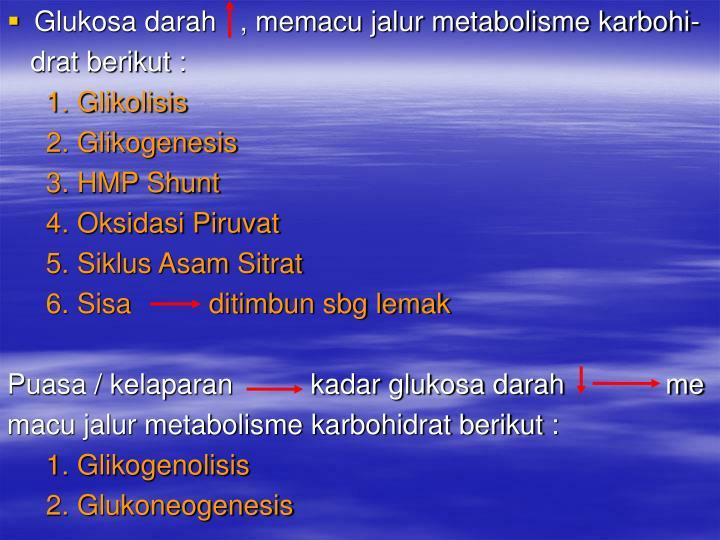 Glukosa darah   , memacu jalur metabolisme karbohi-