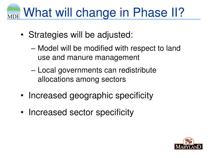 What will change in Phase II?