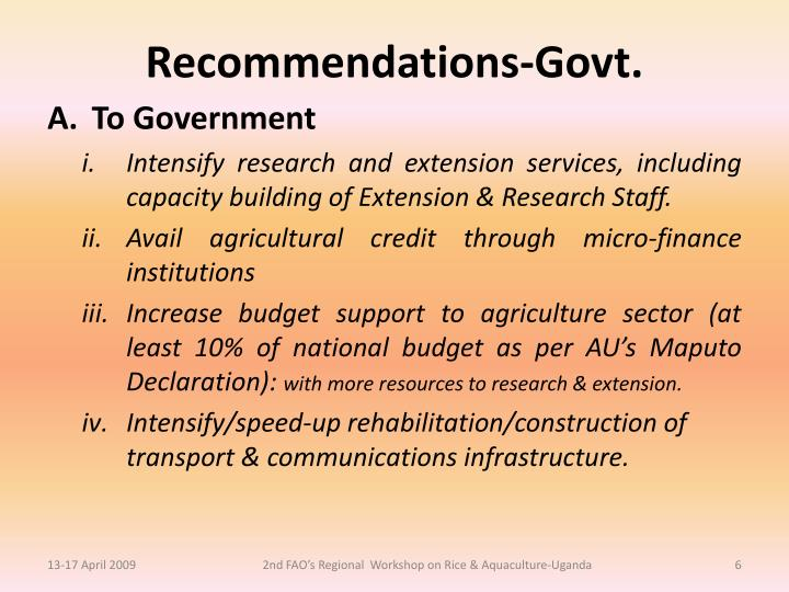 Recommendations-Govt.