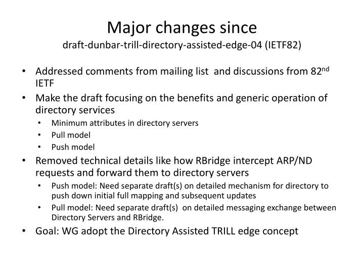 Major changes since draft dunbar trill directory assisted edge 04 ietf82