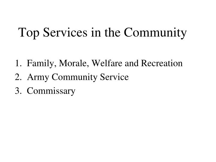 Top Services in the Community