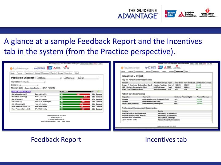 A glance at a sample Feedback Report and the Incentives tab in the system (from the Practice perspective).