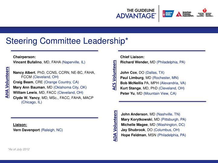 Steering Committee Leadership*