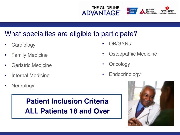 What specialties are eligible to participate?