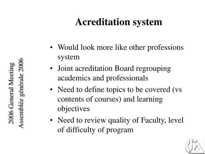 Acreditation system