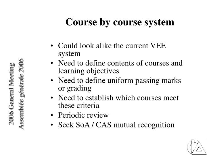 Course by course system