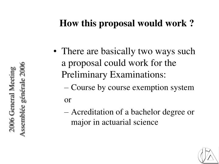 How this proposal would work ?
