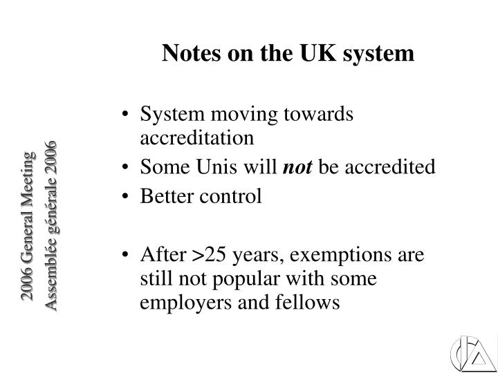 Notes on the UK system