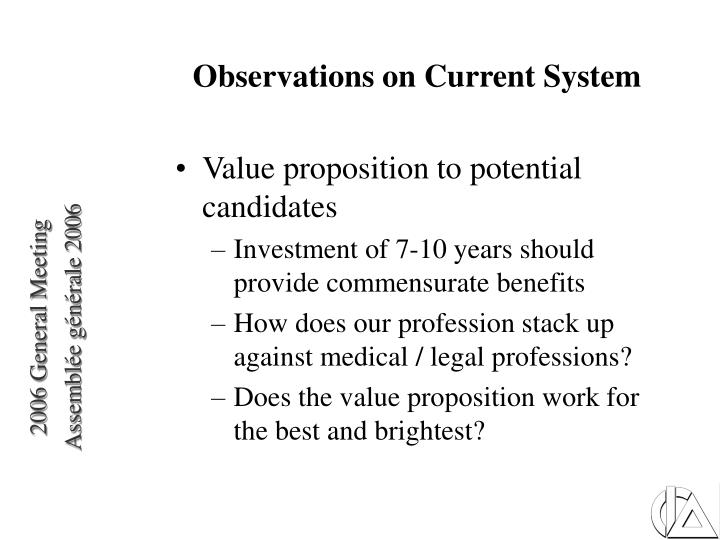 Observations on Current System