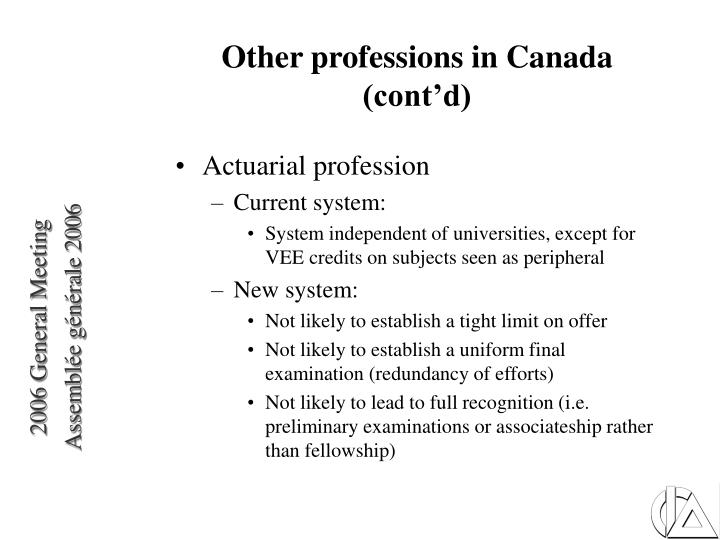 Other professions in Canada (cont'd)