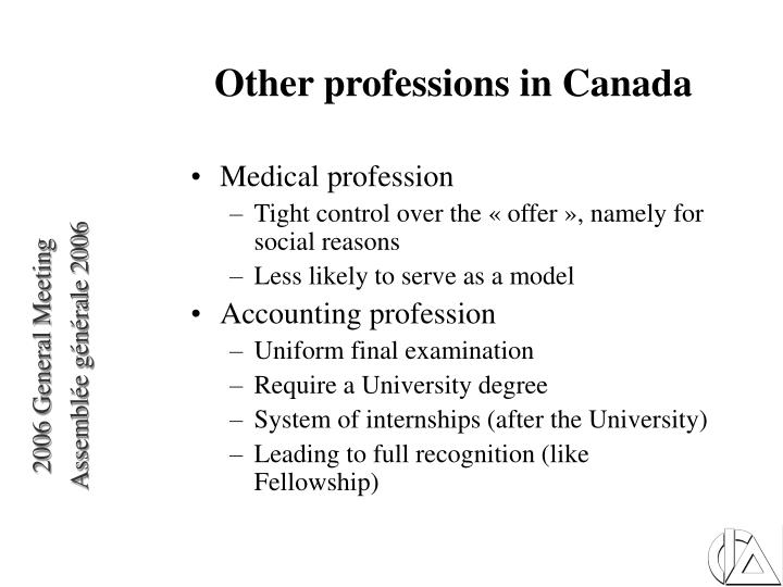 Other professions in Canada