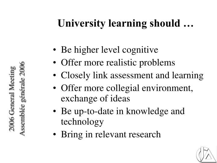 University learning should …