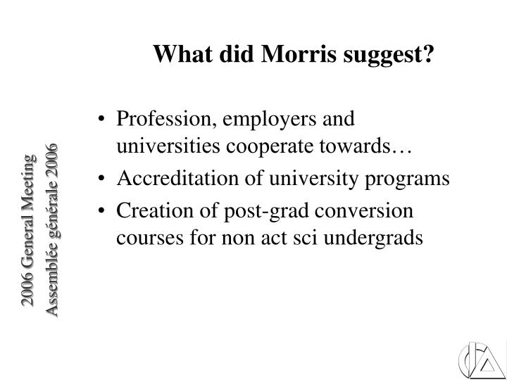 What did Morris suggest?