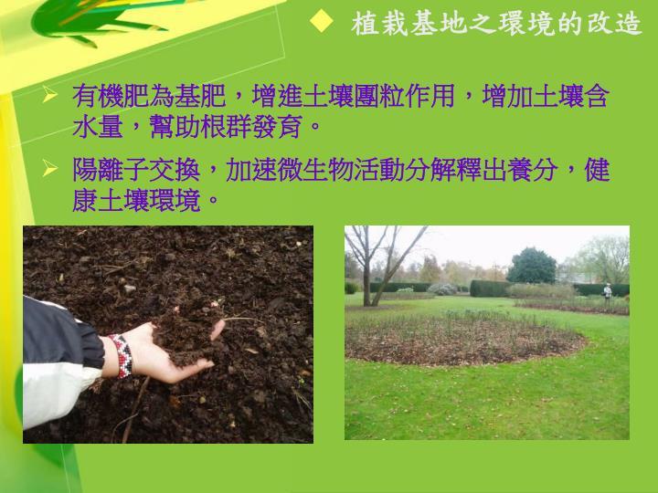 植栽基地之環境的改造