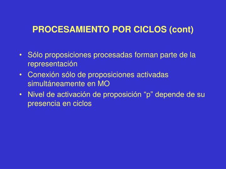 PROCESAMIENTO POR CICLOS (cont)