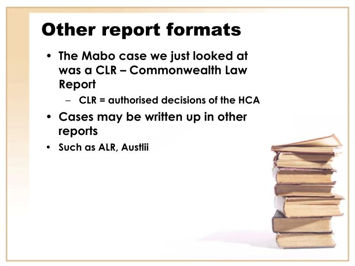 Other report formats
