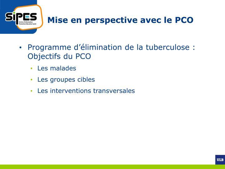 Mise en perspective avec le PCO