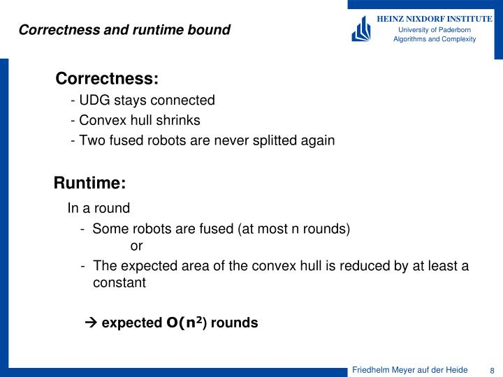 Correctness and runtime bound