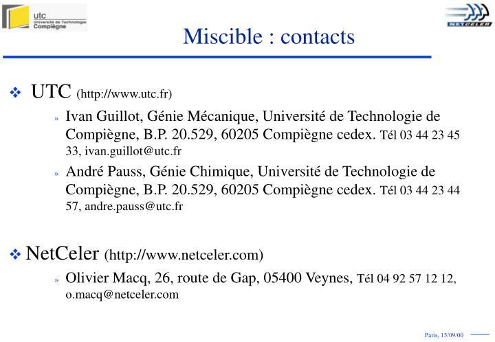 Miscible : contacts