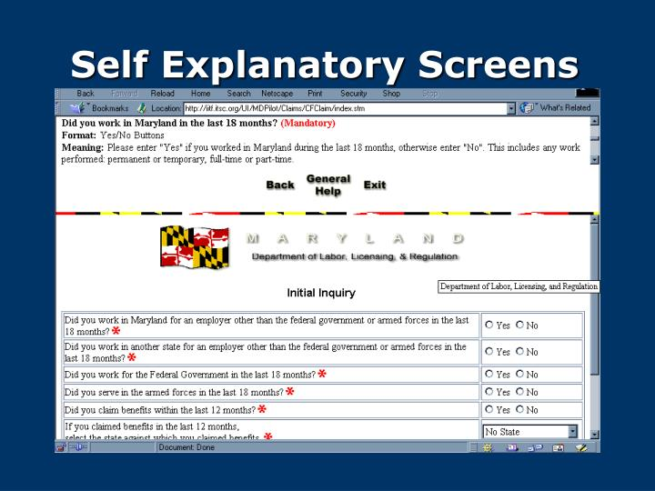 Self Explanatory Screens