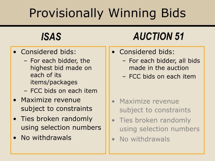 Provisionally Winning Bids
